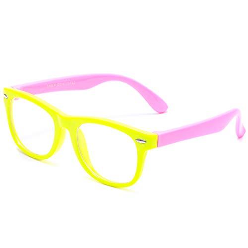 AZORB Kids Nerd Glasses Clear Lens Geek Fake Eyeglasses for Girls Boys TPEE Rubber Eyewear (Yellow & Pink)