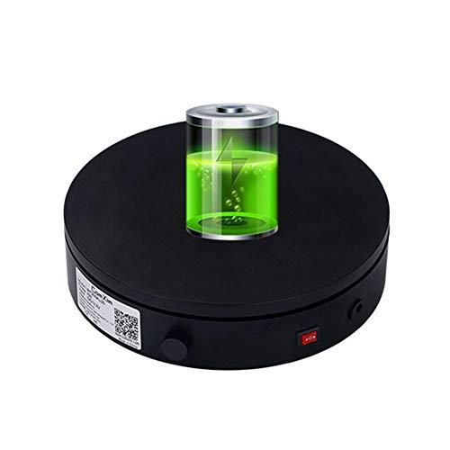 JRPT Plataforma Rotatoria para Fotografía,360° Base Giratoria Eléctrica para Presumir Productos,Joyas,Relojes/Negro / W20cm×H5cm