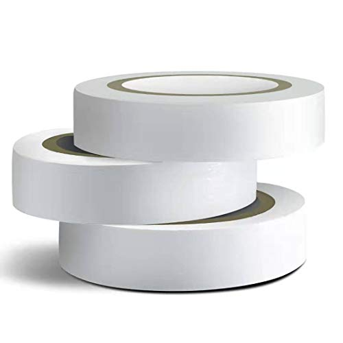 Wapodeai 3PCS White Electrical Tape, Premium White Waterproof Tape, Flame Retardant Indoor Outdoor High Temperature Resistance Electric Tape, 0.62 in X 49 ft
