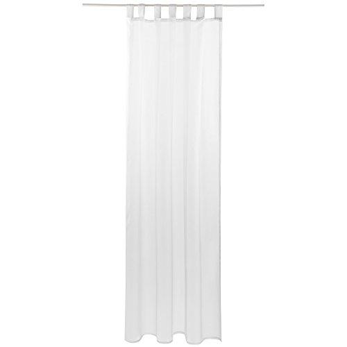 Gardine mit Schlaufen, Transparent Voile 140 x 175cm (Breite x Länge) in weiß - reinweiß, Schlaufenschal in vielen weiteren Farben und Größen