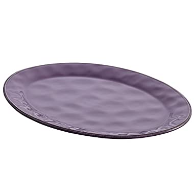 Rachael Ray Cucina Dinnerware Stoneware Oval Platter, 10-Inch by 14-Inch, Lavender/Purple