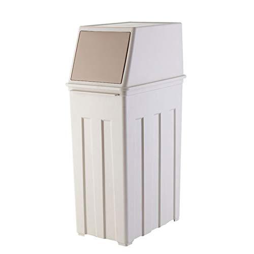 FEANG Cubo de basura de polipropileno de 30 litros con cubos de basura cubiertos de reciclaje de papel para cocina, hotel, oficina, (color: caqui, tamaño: S)