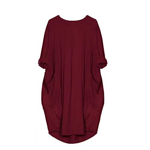 VEMOW Damenmode Tasche Lose Kleid Damen Rundhalsausschnitt beiläufige Tägliche Lange Tops Kleid Plus Größe(X1-x-Weinrot, 44 DE/M CN)