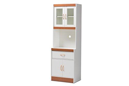 Baxton Studio Laurel Kitchen Cabinet, White/Cherry Brown