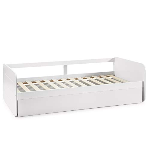 VS Venta-stock Cama Nido Juvenil Cora 90X190, Color Blanco, Dimensiones: 195cm (Largo), 106cm...