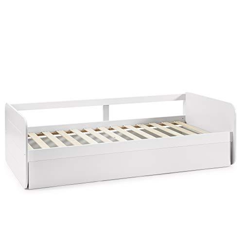 VS Venta-stock Cama Nido Juvenil Cora 90X190, Color Blanco,