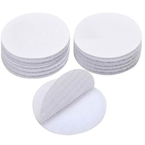 BRAVESHINE Hoop and Loop Dots - 12PCS Strong Adhesive Double Sided Wall Tape Sticky Back Coins Tape for Craft Envelopes Bags Seal - Industrial Strength Mounting Fastener- Round 1.5Inch, White