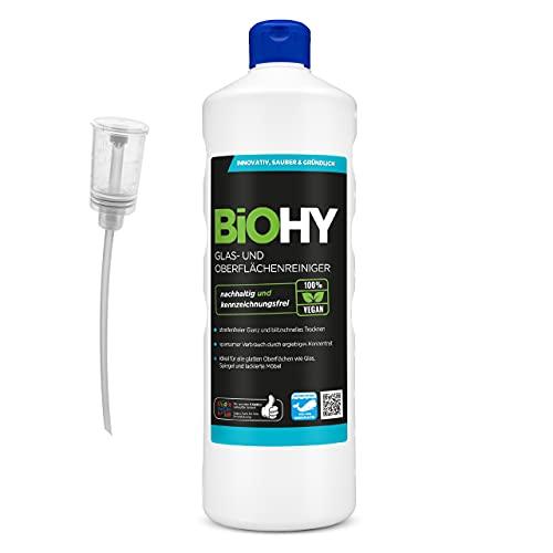 BiOHY Limpia cristales y superficies (1 botella de 1 litro) + Dosificador   Concentrado para uso de aparatos y suelos duros   Olor agradable y limpieza sin rayas (Glas- und Oberflächenreiniger)