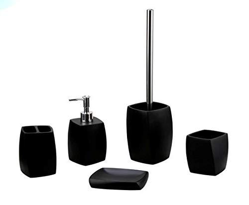 5 TLG. Badezimmer Set Bad Set Bürstenhalter Seifenspender Bürstenhalter Schwarz