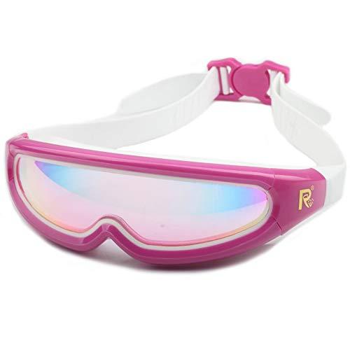 Zwembril, professionele zwembril, anti-mist-uv-bescherming, lekt niet voor volwassen mannen, dames, zwembrillen met oordopjes, beschermhoes roze