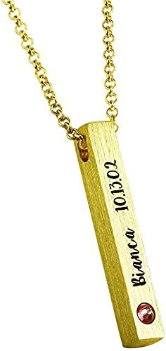 Collar kyznx de plata de ley 925 collar de barra de personalidad de cubo para mujer collar personalizado adecuado para enviar amigos, amantes, madres 16.0 chapado en oro