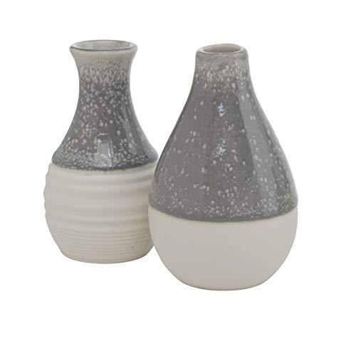 CasaJame Juego de 2 jarrones de gres (10 cm de alto, 6 cm de diámetro), color gris y blanco