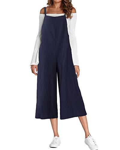 ACHIOOWA Donna Salopette Jeans Lunga Elegante Cotone Maniche Corte Moda Tasche Nuovo Ufficio Marina Militare 2XL