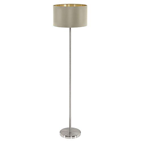 EGLO Stehlampe Maserlo, 1 flammige Textil Stehleuchte, Standleuchte aus Stahl und Stoff, Farbe: Nickel matt, taupe, gold, Fassung: E27, inkl. Trittschalter