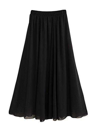 FEOYA Damen Sommerrock Boho Retro Maxi Langer Rock Elastische Taille Double Layer Chiffonrock Unifarben Faltenrock Strandrock Long Skirt 100cm