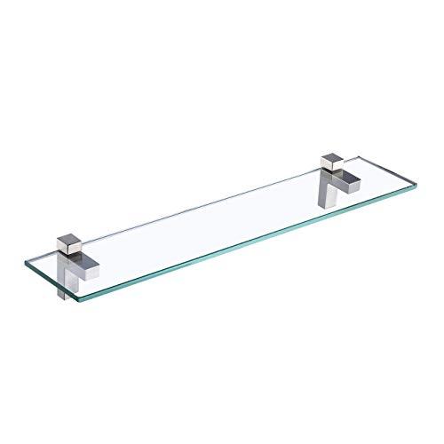 KES Duschregal zum Hängen Badegal Wandregal Dusche Glas Ablage 8mm Duschablage Badezimmer Regal Hartglas mit Regalträger 60cm Gebürstet Nickel, BGS3201S60-2