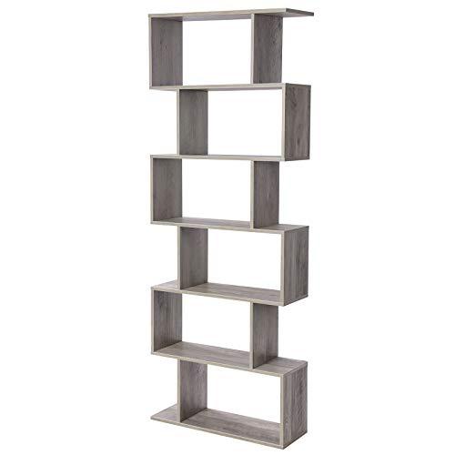 VASAGLE Bücherregal, Regal, Standregal zur Präsentation, freistehender Schrank, Dekoregal mit 6 Ebenen, Greige LBC061M01