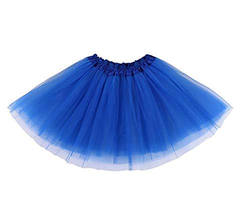 Women's Adult Classic Elastic Tutu Skirt 3 Layered Mini Tulle Skirt Royal Blue