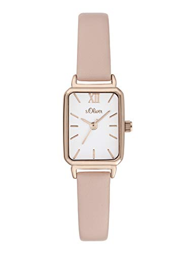s.Oliver Damen Analog Quarz Uhr mit Leder Armband SO-3820-LQ