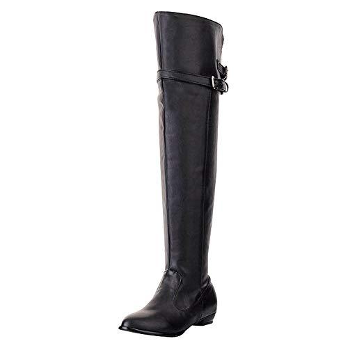 ZARLLE_Botas Botas, Mujer Invierno Botas Altas de tacón Alto de Cuero de Moda de Mujer Botas Altas de Invierno de Rodilla Zapatos Mujer Plataforma