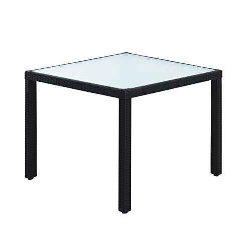 ESTEXO Polyrattan Gartenmöbel Set Sitzgruppe Rattan Gartenset Essgruppe Stuhl Tisch Set Garten Tisch und Stuhl Set 4 Personen Glas Glastisch (Schwarz) - 3