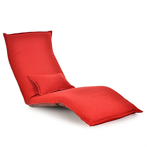 Patio Silla de salón, Chaise Lounge Silla Sala de Estar Muebles Suelo Ajustable Plegable Plegable Tapizaje Pozo Lazy Sofá Cama Chaise Lounge por CHENGYSTE (Color : Red Color)