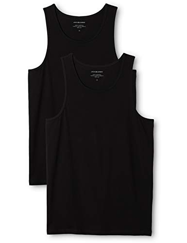 JACK & JONES Herren JACBASIC Tanktop 2 Pack Top, Schwarz (Black Black), Large (2er Pack)
