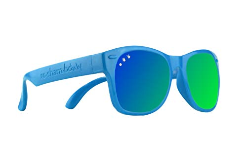 Roshambo Baby Shades Unbreakable Sunglasses 100% UVA/UVB Protection for Babies 0-18months (Zack Blue/Green)