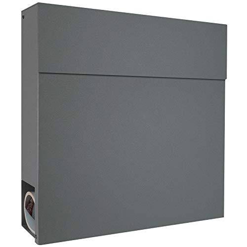 Moderner Briefkasten mit Zeitungsfach basalt-grau RAL 7012 MOCAVI Briefkasten Box 530 Postkasten groß mit Zeitungsrolle, Wand-Briefkasten wasserdicht deutsche Markenqualität
