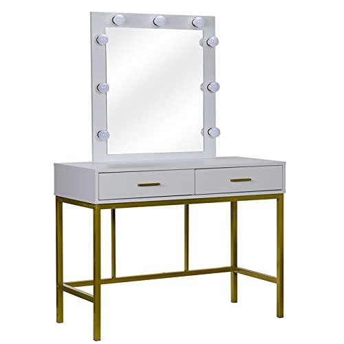 Electric oven Aparador con espejo iluminado, tocador de maquillaje con 9 luces y 2 cajones para mujeres, escritorio dormitorio, marco dorado