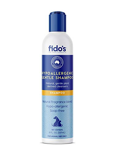 Fido's Pet Shampoo for Dog, Cat, Puppy and Kitten with Dry, Itchy and Sensitive Skins, Gentle Plant Derived Cleansers, Natural Ingredients and Fragrance, No-Soap (8 Oz)