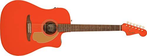 Fender Guitarra electroacústica Redondo, edición limitada, color rojo