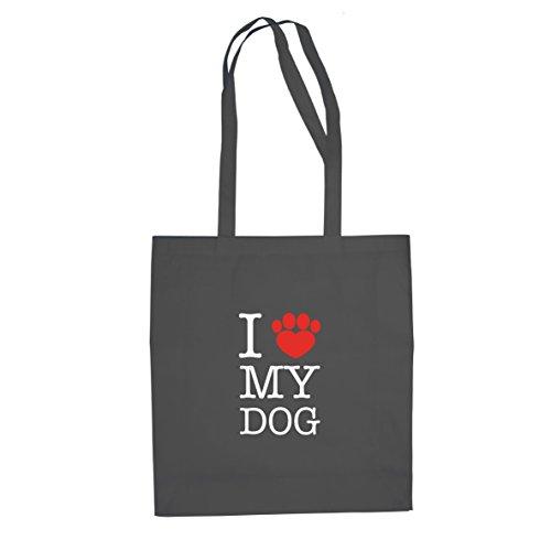 Planet Nerd I love my Dog - Stofftasche/Beutel, Farbe: grau