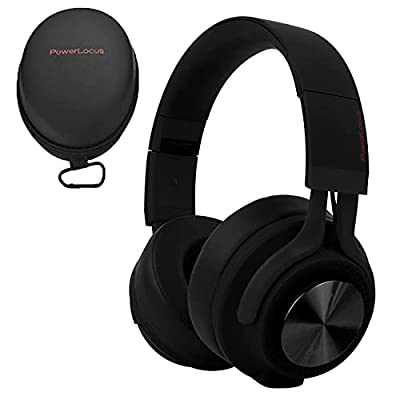 PowerLocus P3 Bluetooth Headphones Over-Ear, [40h Playtime, Bluetooth V5.0] Wireless Headset Hi-Fi Stereo Headphone, Foldable with Mic, Deep Bass, Wired Mode for Cell Phones/Laptop/PC/TV (Matt Black) by Powerlocus