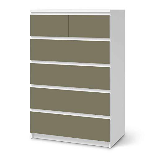Wandtattoo Möbel passend für IKEA Malm Kommode 6 Schubladen (hoch) I Möbelaufkleber - Möbel-Tattoo Sticker Aufkleber I Wohnen und Dekorieren für Wohnzimmer und Schlafzimmer - Design: Braungrau Light