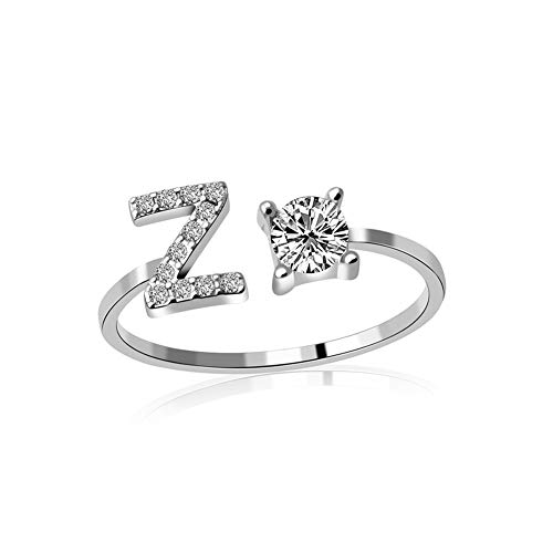 Letter Rings, Fashion Jewelry A-Z Initial Alphabet Letter Adjustable Open Ring for Women Teens, Personalized Cubic Zirconia Statement Rings Party Silver Plated Adjustable Rings Knuckle Rings Z