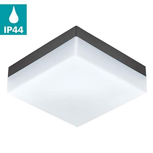 EGLO LED Outdoor plafondlamp Sonella, 1 vlammige buitenlamp voor muur en plafond, plafonnière van kunststof, kleur: antraciet, wit, IP44