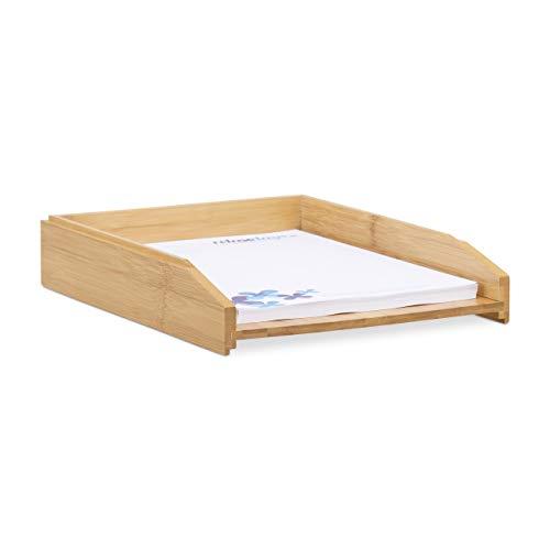 Relaxdays 10022180 Vaschetta Porta-Documenti Ufficio, A4, Porta-Corrispondenza, Portalettere, Bambù, 6x25x33 cm, Marrone Chiaro