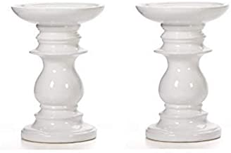 Hosley Set of 2 Ceramic White Pillar Candle Holders 6 Inch High Ideal for LED and Pillar Candles Gifts for Wedding Party H...