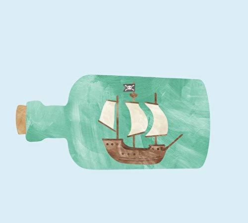 Schip in een fles muurtattoos nautische stof aquarel muurtattoos