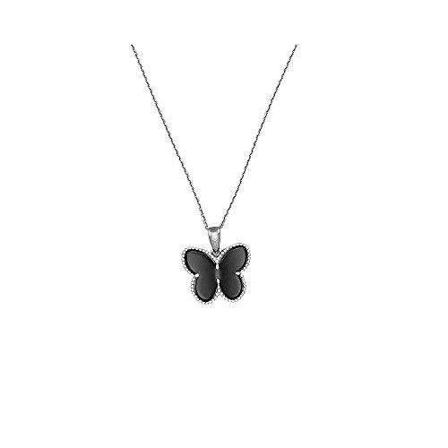 Mes-bijoux.fr hanger van zwart keramiek, zilver en zirkonia My Sweet Butterfly + zilveren ketting