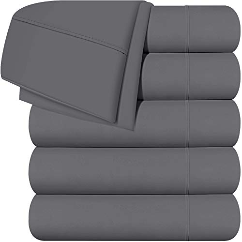 Utopia Bedding Flat Sheets - Pack of 6 - Soft Brushed Microfiber Fabric - Shrinkage & Fade Resistant Top Sheet - Easy Care (Full, Grey)