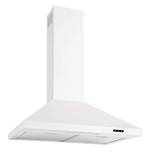 Broan-NuTone EW4830WH Wall-Mount White Chimney LED Lights, 400 CFM, 30-Inch Range Hood