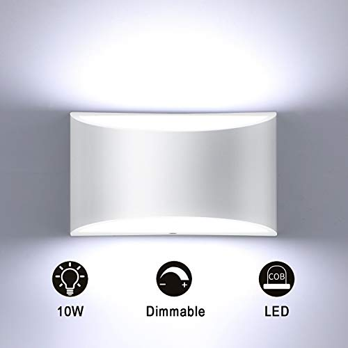 Glighone Regulable Apliques Pared Luz de Pared LED Arriba Abajo 10W Lámpara de Pared de Interior Blanco Para Dormitorio Pasillo la Sala Estar Del, Blanco Frío