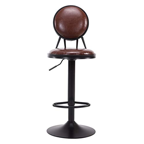XZG Vintage Bar Chaise, Continental PU Bar Chaise Dossier Chaise Fer Art Ascenseur Tabouret Haut Tabouret Avant Décoration Barstool Régler Hauteur 95-115 CM -Créer Une Vie de Famille Simple