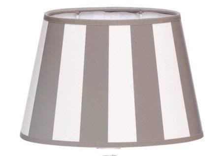Lampenschirm-oval-hell-grau-weiss-gestreift konische Form Ø 30m (GRAU 20 * 30 * 18cm)