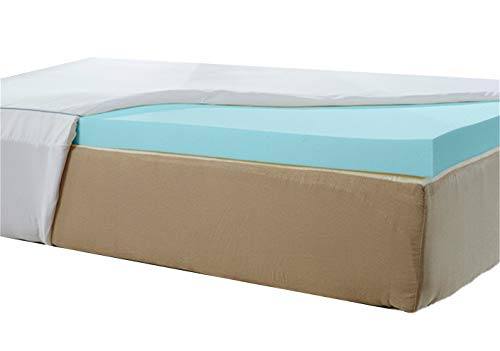 Natures Sleep Thick AirCool IQ Twin Size 3 Inch Thick 3.25lb Density Gel Memory Foam Mattress Topper With Microfiber Fitted Cover and 18 Inch Skirt