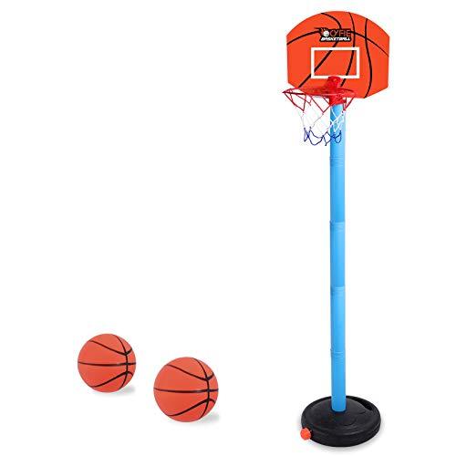CYFIE Canasta Aro de Baloncesto Ajustable, Aro de Baloncesto Niños Infantil con Inflador y 2 Pelotas Altura 68-106cm, Juguetes niños Canasta Baloncesto Exterior