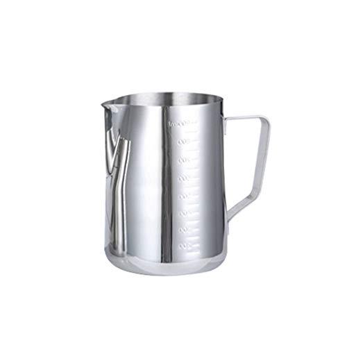 BESTonZON Acciaio Inossidabile Tazza di Latte, bricco da Latte 900 ml Handheld caffè bricco Latte Art con Marchio di misurazione, lattiera Perfetto per Cappuccino Barista Espresso Making 900 Ml
