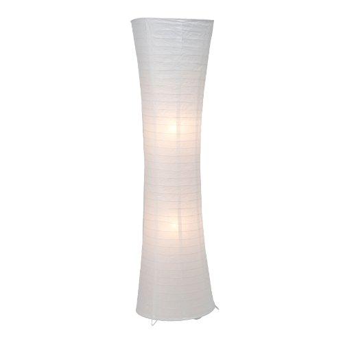 Standleuchte, Papierleuchte, 2x E27 max. 60W, Metall/Papier, weiß